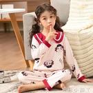 兒童睡衣女純棉長袖春秋男孩女童小童夏季薄款小孩家居服寶寶套裝 蘿莉新品