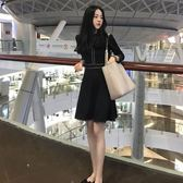 降價兩天-長袖洋裝新品正韓女裝秋冬季赫本小黑裙長袖連身裙中長版加厚打底裙潮