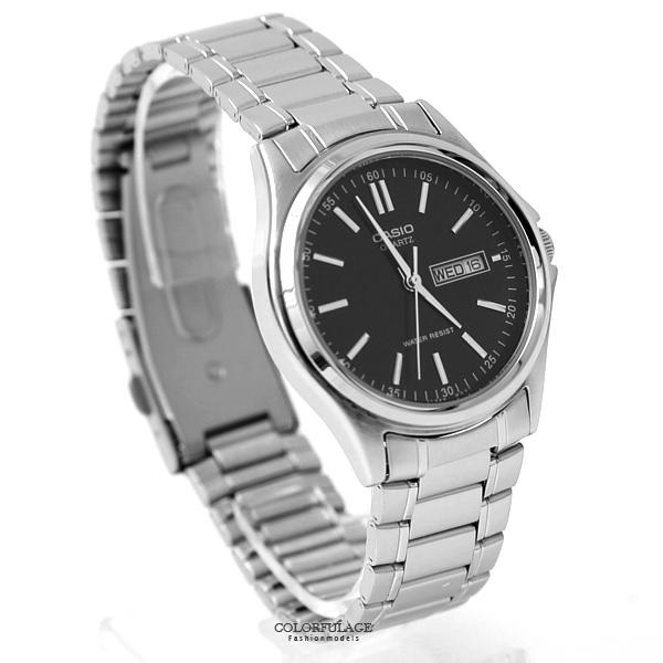 CASIO卡西歐 黑面日期窗鋼錶 不鏽鋼錶帶【NEC74】