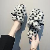 豹紋可愛毛絨拖鞋女冬少女心毛茸茸網紅毛毛ins室內韓版保暖棉拖