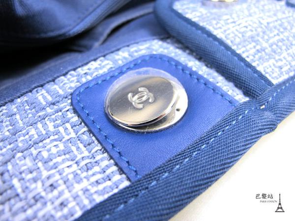 【巴黎站二手名牌專賣店】*現貨*CHANEL 香奈兒真品*藍色Deauville牛皮邊飾兩用肩背沙灘包