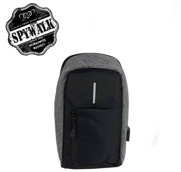 SPYWALK 防潑水尼龍防盜胸包 附USB充電功能 NO:S8096