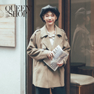 Queen Shop【02071173】休閒純色毛呢雙排釦長袖外套*現+預*