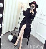 風衣外套 風衣女中長款韓版秋季新款氣質西裝領綁帶收腰長袖寬鬆外套- 唯伊時尚