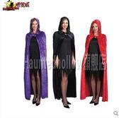 萬聖節女COSPLAY成人恐怖服裝兜帽黑紫紅色長款披風