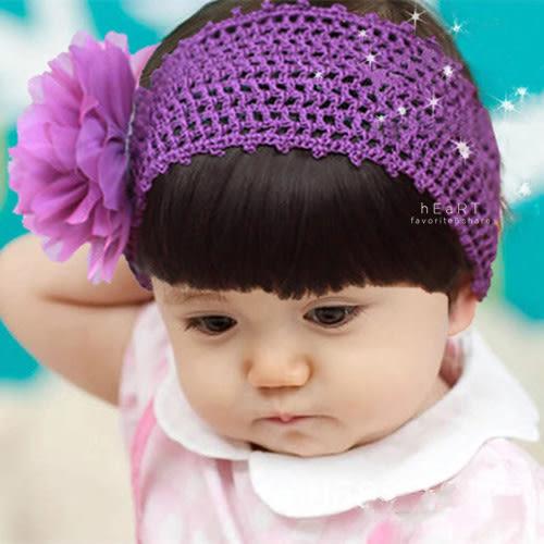 古典紗花針織前劉海髮帶 兒童髮飾 假髮 髮片 髮帶
