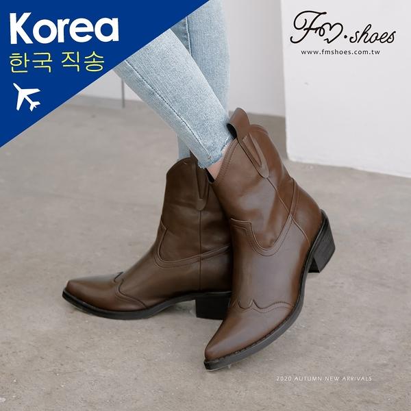 靴.尖頭V口西部牛仔短靴(棕)-FM時尚美鞋-韓國精選.&ME