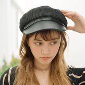 時尚草編海軍帽子男女夏天八角帽復古草帽沙灘遮陽鴨舌帽