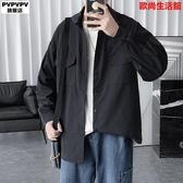 長袖襯衫男韓版潮流帥氣秋季大碼胖子男士寬松工裝純色情侶襯衣男