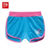 JJLKIDS 女童 Cute英字刺繡造型休閒短褲(天蘭)