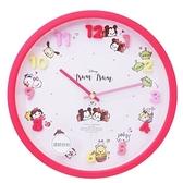 〔小禮堂〕迪士尼 TsumTsum 連續秒針圓形壁掛鐘《粉.立體數字》時鐘 4548626-10558