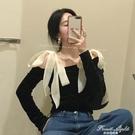一字領露肩上衣女設計感百搭打底衫2021新款春季洋氣黑色長袖T恤 果果輕時尚