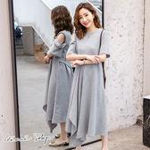 孕婦裝 MIMI別走【P52832】雅致設計 單露肩剪裁綁帶孕婦洋裝 長裙
