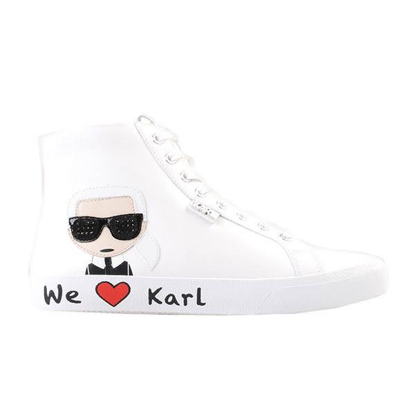 Karl Lagerfeld 卡爾 老佛爺 鞋 SKOOL 高筒Q版WE LOVE休閒鞋-白