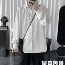 薄款雪紡上衣 垂感白襯衫 男士長袖 韓版潮流襯衣 休閒襯衣 寬鬆外套 自由角落