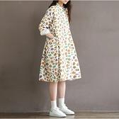 森女系洋裝 森女日系文藝復古清新減齡襯衫領大口袋棉麻貓頭鷹印花寬鬆連身裙-Ballet朵朵