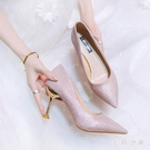 仙女風伴娘鞋女銀色尖頭高跟鞋亮片水晶鞋溫柔風宴會鞋粉色禮服鞋 EY10222『毛菇小象』