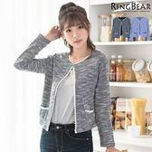 針織--優雅氣質唯美Lady蕾絲滾邊蝴蝶結雙口袋針織開襟短版外套(黑.藍XL-5L)-J305眼圈熊中大尺碼