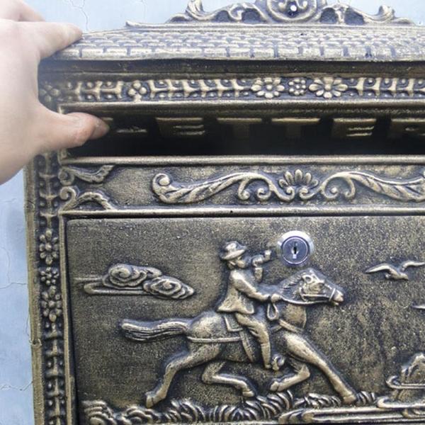 特價歐式田園鑄鐵工藝品壁掛式貴族獵人信報箱郵箱鐵藝信箱裝飾品