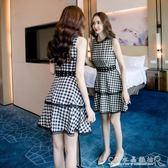 夏新氣質蕾絲花邊格子拼接無袖蛋糕裙時尚收腰顯瘦洋裝 水晶鞋坊