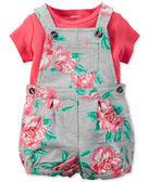 2件組短袖吊帶褲: 嫣紅玫瑰: 121G495