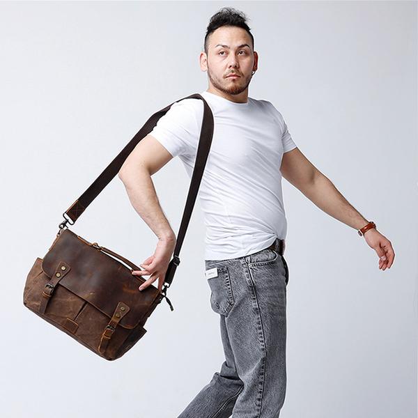 側背包帆布-灰-郵差牛仔風 男包 情人節生日禮物【ARSIM愛型包包】