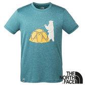 【THE NORTH FACE 美國】男 短袖圓領排汗 T恤『深藍』NF0A3CJK 輕量 印花 排汗 咖啡紗