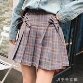 格子百褶裙短裙春夏女學生ulzzang高腰原宿chic半身裙子千千女鞋