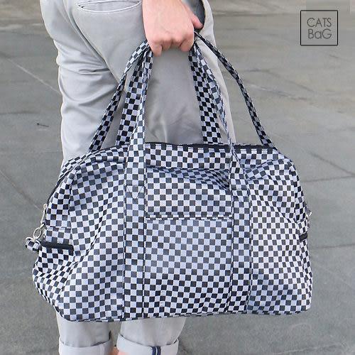 旅行袋-10773超強實用大容量棋盤格紋二用包可套拉桿旅行袋