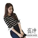EASON SHOP(GW0837)韓版簡約撞色橫條紋紗網蝴蝶結拼接圓領七分袖針織衫女上衣服彈力貼身內搭衫顯瘦