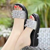金屬鑽涼鞋 女外穿厚底坡跟拖鞋【多多鞋包店】z2039