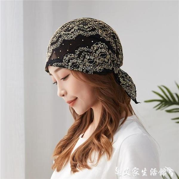 頭巾帽 包頭帽月子帽子女夏季薄款透氣化療帽子女薄夏光頭蕾絲頭巾堆堆帽 艾家