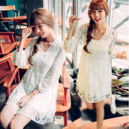 韓風V領鏤空七分袖蕾絲連身裙/洋裝 S-XL碼【D927323】