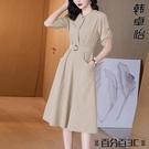 襯衫洋裝 夏季新款連身裙2021年大碼女裝工裝襯衫裙40歲女裝胯骨寬適合裙子 百分百