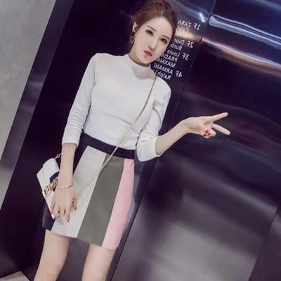 皮革短裙-時尚氣質百搭拼接女裙子2色73kj65[巴黎精品]