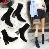 2018秋冬新款瘦瘦靴彈力靴女中筒襪靴中跟針織襪子靴粗跟高跟短靴  【PINK Q】