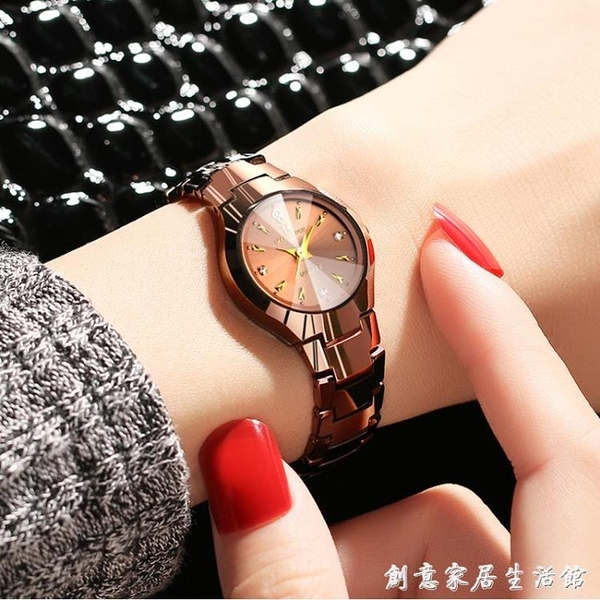 超薄防水女士手錶女士腕錶石英女鎢鋼女錶男學生情侶手錬手錶 聖誕節免運