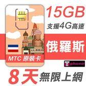 【TPHONE上網專家】俄羅斯 8天無限上網 前面15GB 支援4G高速 當地原裝卡