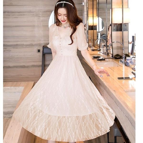 優雅氣質五分網紗袖約會謝師宴洋裝[98978-QF]美之札