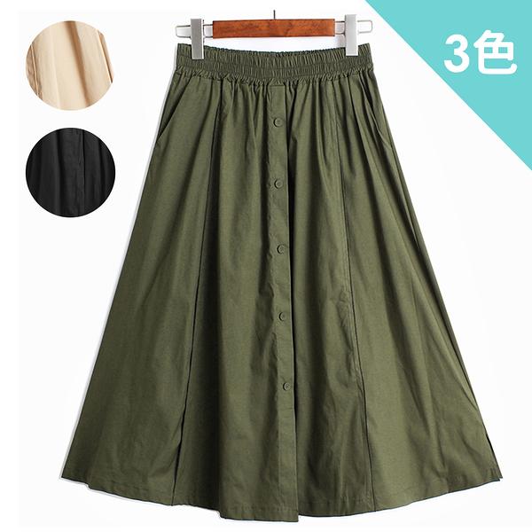 (預購) imaco旗艦店 排釦點綴鬆緊高腰顯瘦A字裙