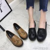 新款英倫風復古流蘇樂福鞋休閒圓頭中跟小皮鞋 雙十二特惠