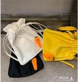 束口包-夏季韓版純色束口單肩包可愛帆布斜背包 提拉米蘇