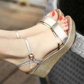 楔形鞋 夏季真皮坡跟涼鞋女高跟露趾平底厚底大碼鬆糕防水臺女鞋 【唯伊時尚】