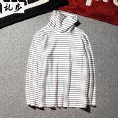 長袖T恤 體恤原宿復古簡約黑白條紋高領長袖T恤GD款情侶打底衫 莎瓦迪卡