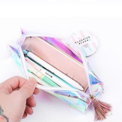 【BlueCat】炫酷雷射透明彩色筆袋 鉛筆盒