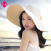 雙11搶購 沙灘帽遮陽草帽大沿帽子女夏天可折疊防曬太陽帽海邊度假韓版百搭