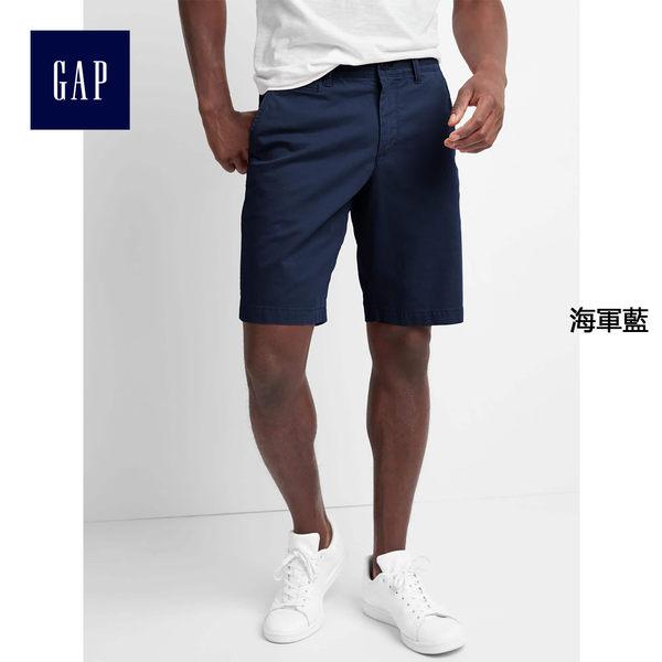 Gap男裝 復古風棉質水洗彈力短褲 790378-海軍藍