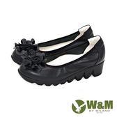 W&M 片片玫瑰造型厚底舒適休閒 女鞋-黑(另有藍)