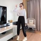 【Charm Beauty】2021春裝 新款 長袖t恤女 心機設計感 短款 上衣 配高腰 休閑褲子 ins超火