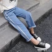 女童牛仔褲子春秋裝新款兒童裝女寶寶夏季薄款洋氣九分闊腿褲  凱斯盾數位3c